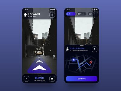AR Navigation App app clean night mode dark mode map navigation mobile neon gradient dark ui dark theme augmentedreality augmented reality ar app ar