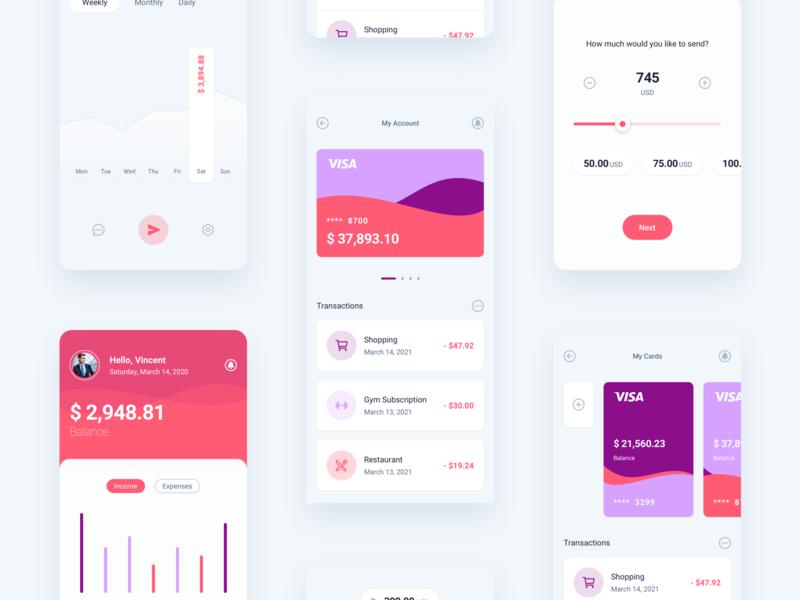 Finance Mobile App colorful orange purple fintech app fintech wallet finances finance app finance minimal flat ios app design ux ui