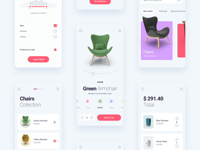 Store Mobile App ios minimal flat app design ux ui product filter shopping cart shopping shop store