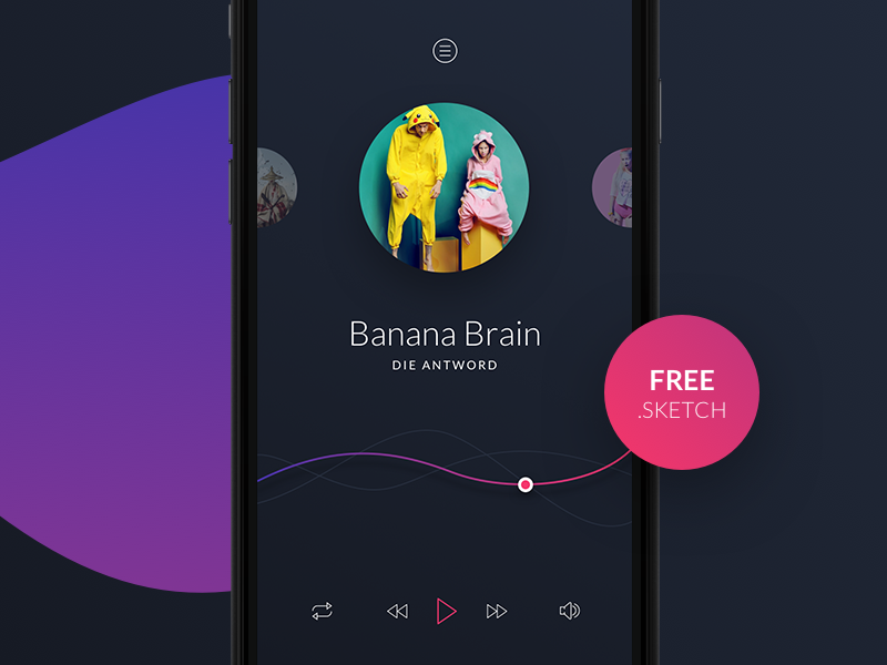 Freebie Music Player for Sketch psd blue dark play android ios freebie free sketch player music