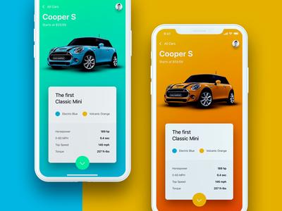Just a random 💩 about car I like gradient orange blue iphone x ios 11 ios ux ui rent cooper mini car