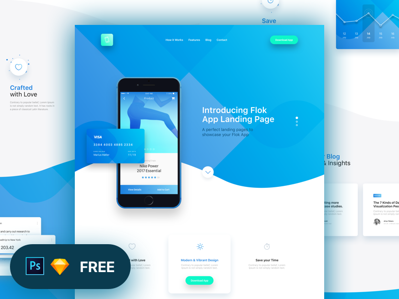 Flok App Landing Page Freebie by Panoply Store freebie free web ux ui design ios app page landing photoshop sketch