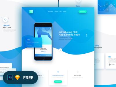 Flok App Landing Page Freebie by Panoply Store