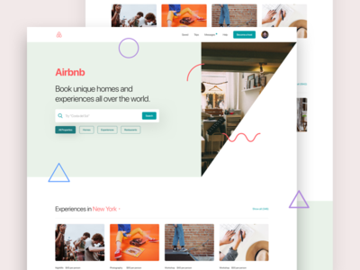 A - Airbnb design layout simple minimal web landing page airbnb
