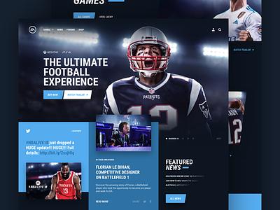 E - Electronic Arts dark layout games design gaming ux ui concept home page web web design ea