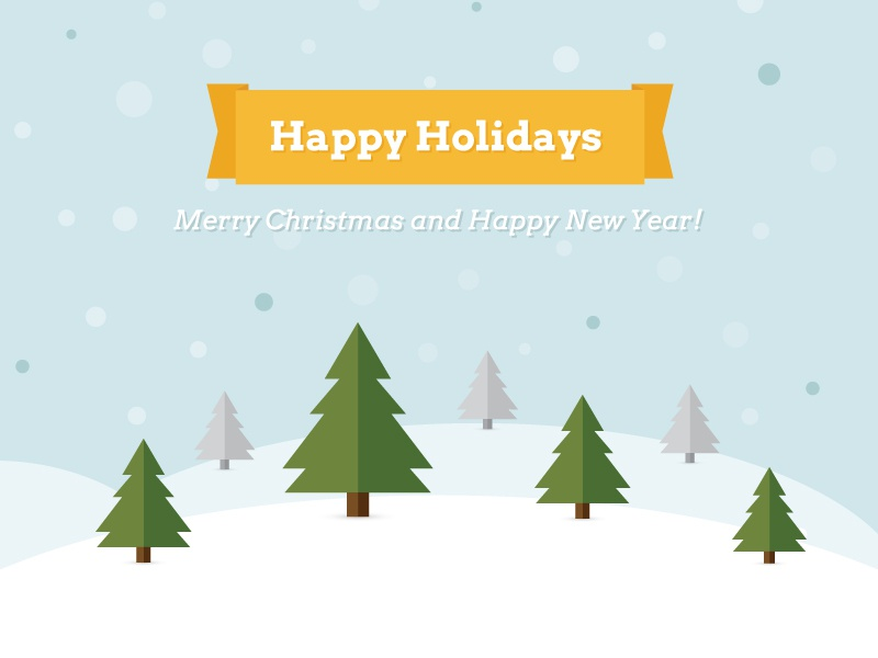 Happy Holidays - Free Vector Illustration freebie illustrator happy holidays christmas new year illustration colorfull winter minimal