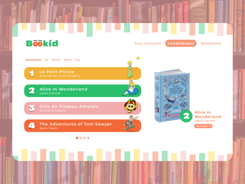 Leaderboard - Daily UI Challenge #019 leaderboard website webdesign dailyui019 daily ui bookstore kids books design ui ux