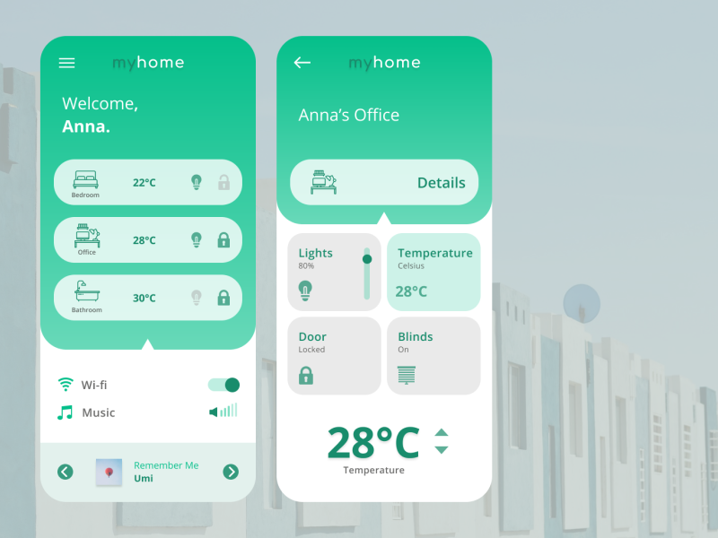 Home Monitoring - Daily UI Challenge #021 smart house smart home mobile dailyuichallenge home monitoring app dailyui ui ux