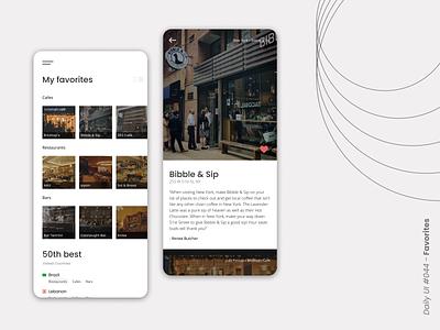 Favorites dailyui044 mobile restaurant app cafes restaurants bars 50best favorite design uxdesign dailyui ui
