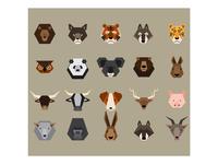 Flat Animals Head Icon Design