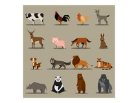 Flat Animals Icon Design