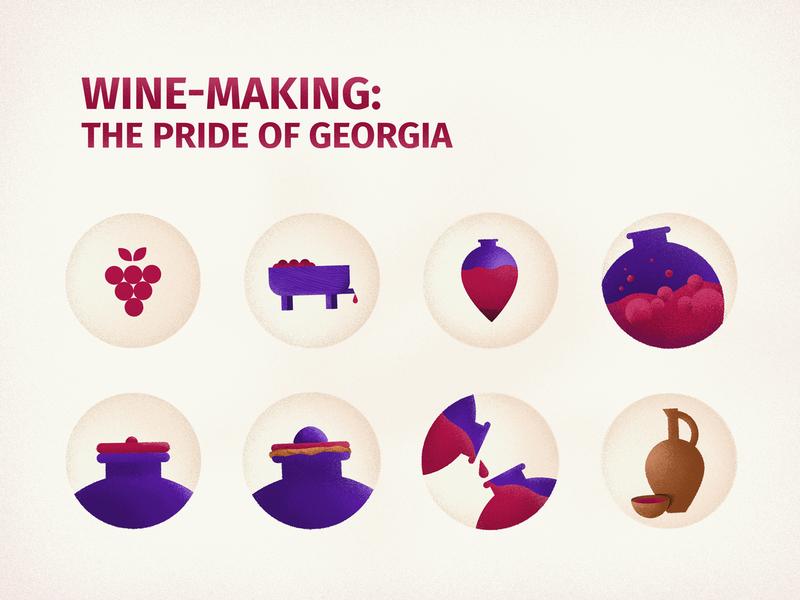 Wine Making: Pride Of Georgia (Icons) grape winemaking wine visualization vector satsnakheli red wine kvevri graphicdesigner georgianwine forset design chacha qvevriwine icon logo illustration georgian