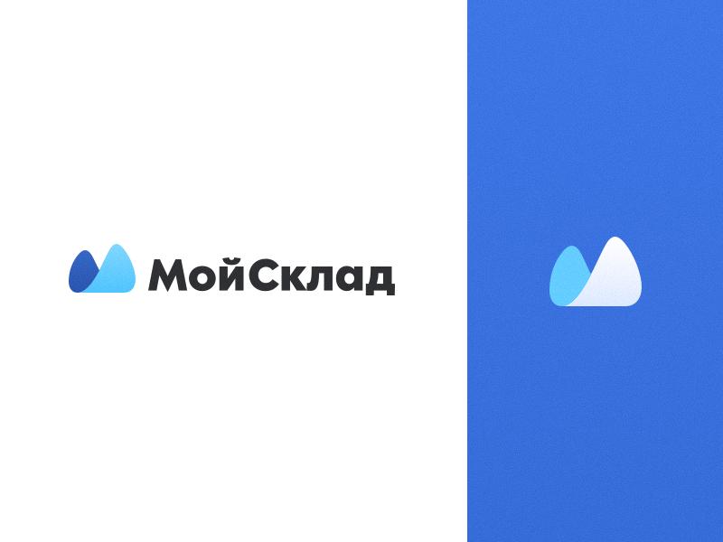 MoySklad Logo blue tipography branding logo