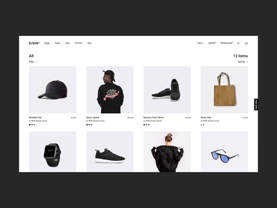 Elson - Shop Compact urban fashion shop branding animation minimalism minimal flat design website web ux ui