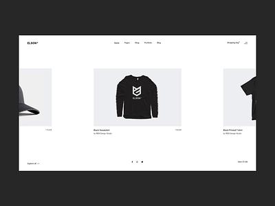 Elson - Product Carousel urban shop fashion contemporary branding animation minimalism minimal flat website web ux ui