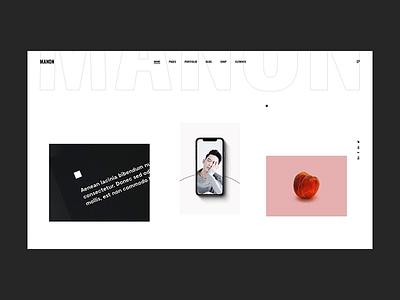 Manon - Portfolio Minimal portfolio art color agency typography illustration bold minimalism animation minimal flat design creative wordpress website web ux ui