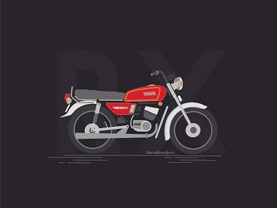 RX 100 red old bikes simple design illustration design motorcycle bike yamaha rx100 vector illustration