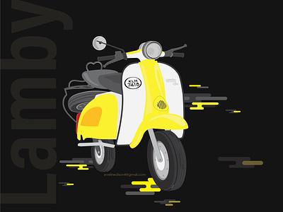 lambi illustration scooter bike design black and yellow illustration