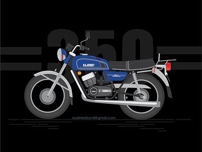 RD350 old kerala india motorbike rd350 rd blue black ux branding logo bike simple illustration design