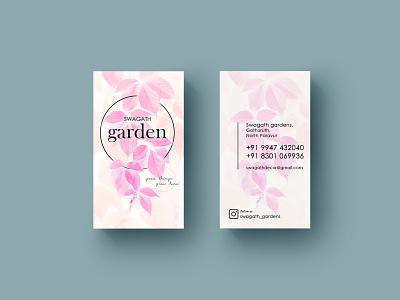 visiting card for garden garden leaves pink visitingcard branding vector illustration simple design