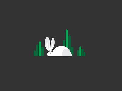 Rabbit in the garden vector black bg green animal illustrationof rabbit creative design rabbit design simple illustration