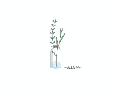 tiny bottle plant doodle plant tiny art flat app icon ux branding vector illustration simple design