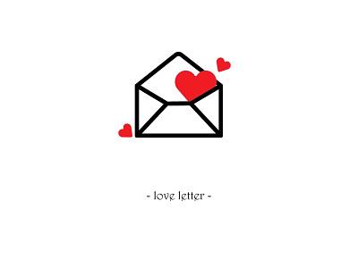 loveletter illustrator line drawings black red ux web app logo icon branding vector simple design illustration