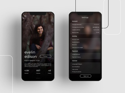 profile and settings daily ui 007 minimal black ux web app ui branding simple dailyuichallenge design dailyui007 dailyui