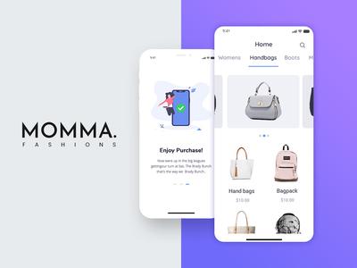 Momma Fashions Mobile UI Design