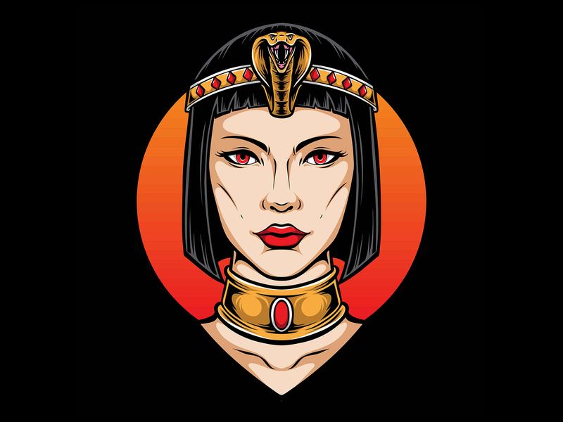 cleopatra vector illustration logo pyramid pharaoh mummy spinx egyptian cleopatra egypt