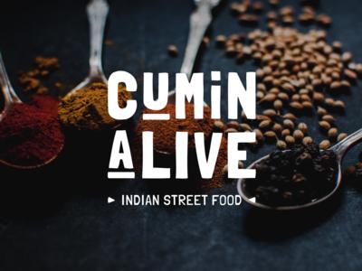 CuminAlive Concept Logo typography identity branding flat minimal design logo design logotype restaurant food street kitchen indian logo