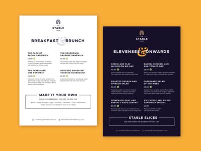The Stable Cafe Menu flat logo print vector digital vegan stable clean identity branding design eat food restaurant cafe menu