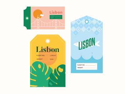 Lisbon Luggage Travel Tags vector bridge palm sardine pastel cute minimal illustration europe world travel portugal lisbon tags luggage