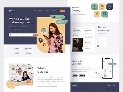 Gurules - Tutor Finder Homepage homepage design tutor finder tutor homepage webdesigner landingpage uiux webdesign clean ui userinterface uiuxdesign uidesigner uidesign