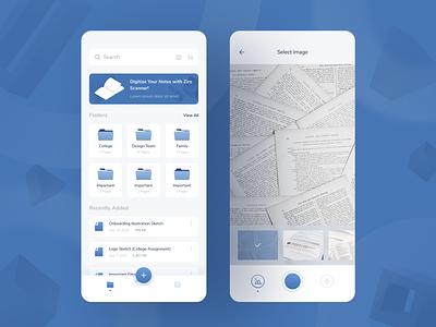 Exploration - Scanner App document folder file gallery camera scanner app scanner uiuxdesigner uiux mobile app webdesigner ui userinterface uiuxdesign uidesigner uidesign