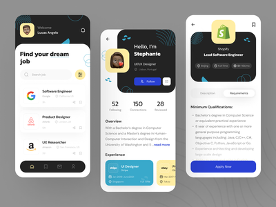 Job Finder App Exploration mobile mobile app design mobile app uiux clean ui userinterface uiuxdesign uidesigner uidesign job finder app job finder