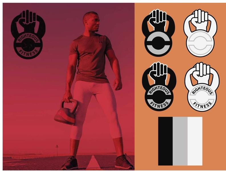 Righteous Fitness vector branding logo flat design