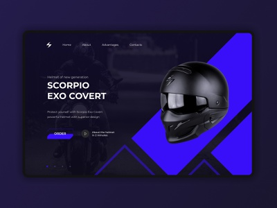 Full Page Concept — Helmet Scorpio Exo Covert Product Page branding typography type animation website web ux ui design