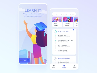 E-learning | Education App app vector product design uiuxdesign uidesign minimal mobile ux ui typography design