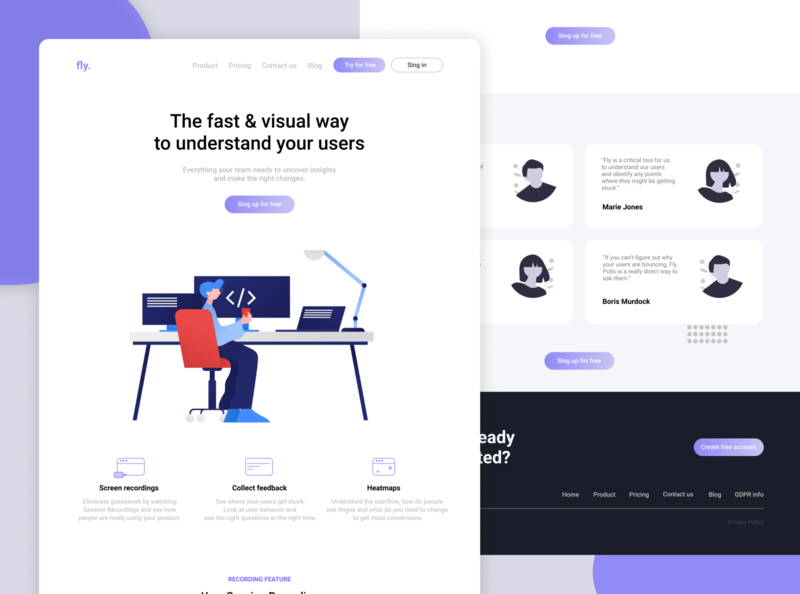Fly - Analytics Tool Landing Page