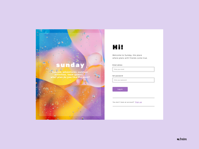 Sunday Web · Log in photography sign in sign up branding ui app web design product-design login page ui-design designer