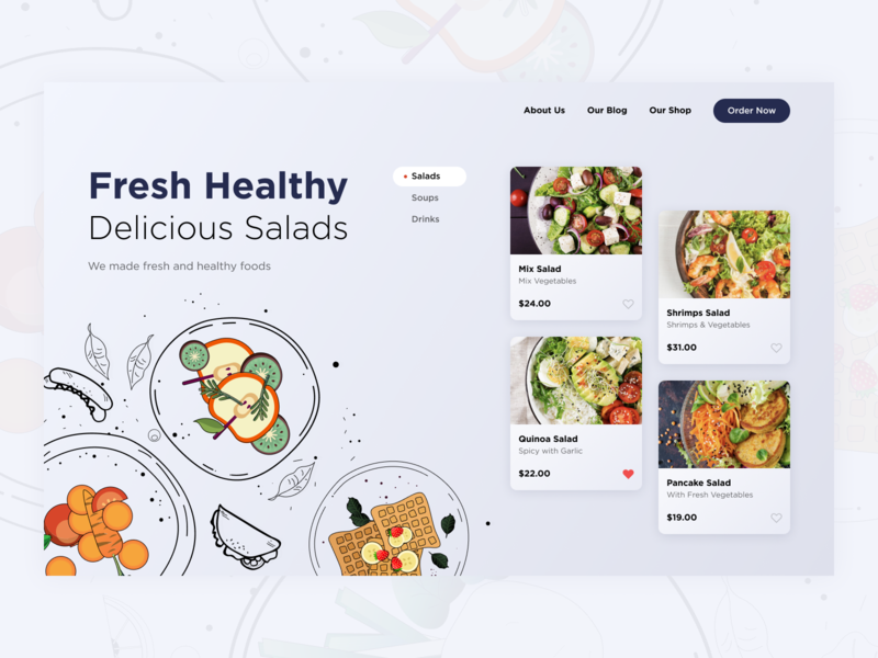 Fresh and Heathy ui website interface food app food site takeout delivery app salad food web ux design ux designer