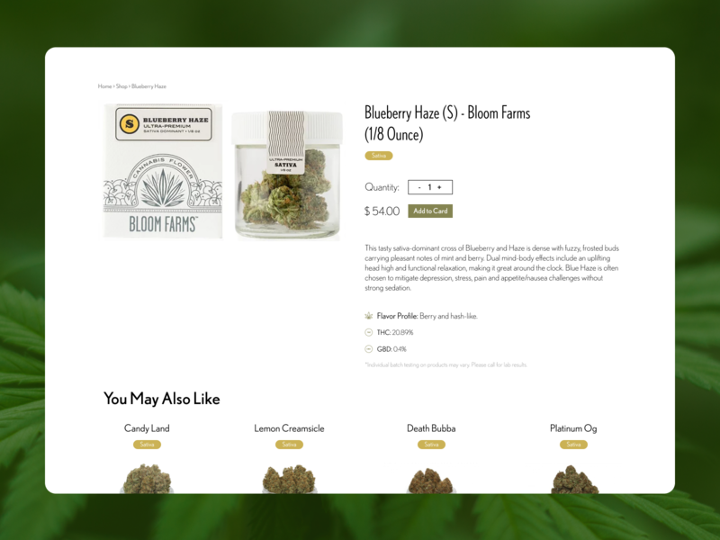 Medical and Recreational Cannabis Shop Page Mock-up