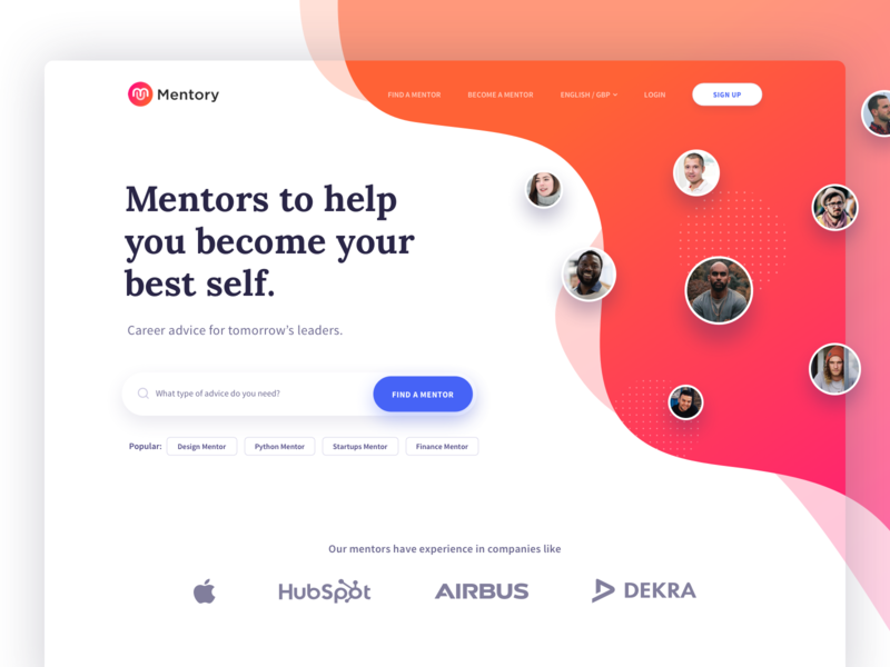 Mentory Landing page webapp mentor education page home pattern minimalist mentory landing page website design ui ux web inspiration illustration