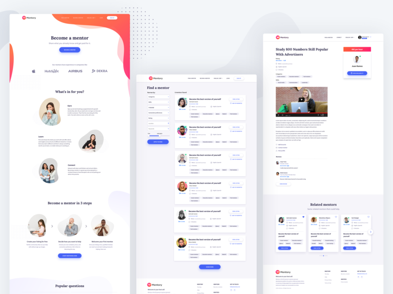 mentory - Become mentor mentor inspiration ux ui home page landing page website webdesign web