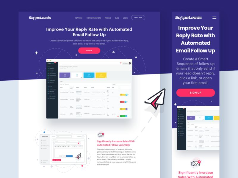 Followup Email Tool landing page inspiration illustration ux uiux visual ui design web design website web