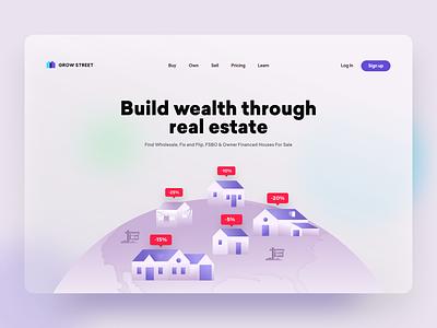 Grow Street - Hero illustration illustration landing page app website web design inspiration investing investor realestate real estate