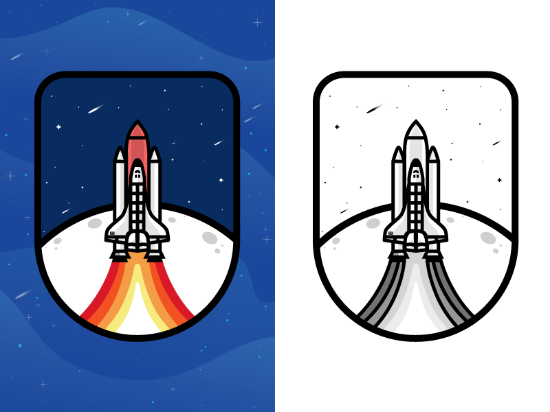 Badge illustration illustration patches patch spaceship 2017 explore badge  illustrator booster falling star mark logo rocket stone space  ship shuttle line icon stars logotype astronaut fire logo designer planet vector moon outer space patch mark