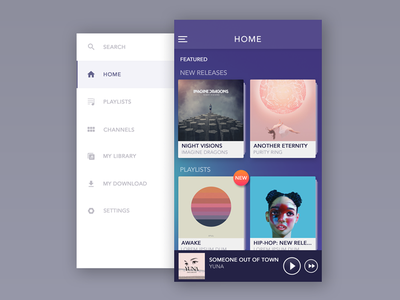 Side Menu & Home Screen home minimal ahmedabad download ios profile simple search album side mobile android music menu player feed sound news app