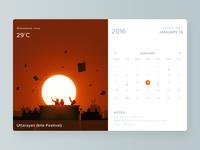 Calendar widget sunset